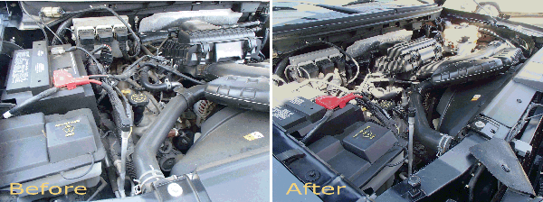 engine before and afer detailing